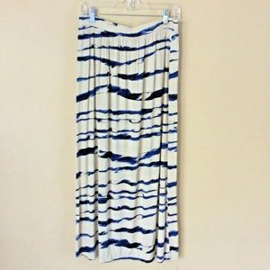Loft Maxi Skirt Medium Beige Blue Black